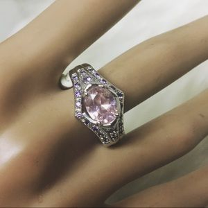 Jewelry - Sterling Silver PINK ICE CZ Stones Cocktail Ring